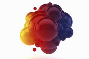 3D illustration of colorful bubbles.