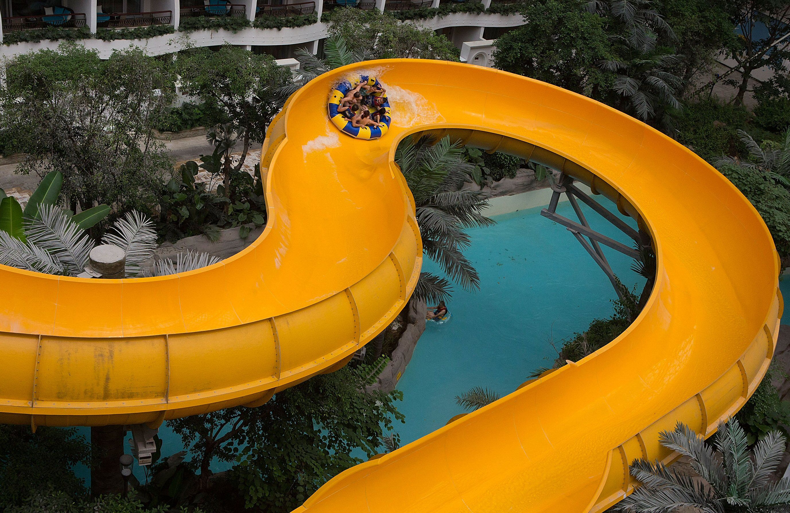 Family Raft Ride at the Paradise Island Water Park inside the New Century Global Center, Chengdu, China