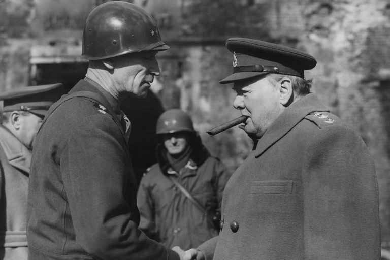 British Prime Minister Winston Churchill (right) with William Hood Simpson (1888 - 1980), Commander-in-Chief of the US 9th Army, during a visit to Allied forces in Germany, World War II, circa 1945.