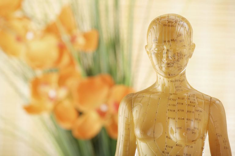 Female Acupuncture Model with flowers in background.