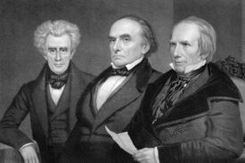 Engraved portrait of John C. Calhoun, Daniel Webster, and Henry Clay