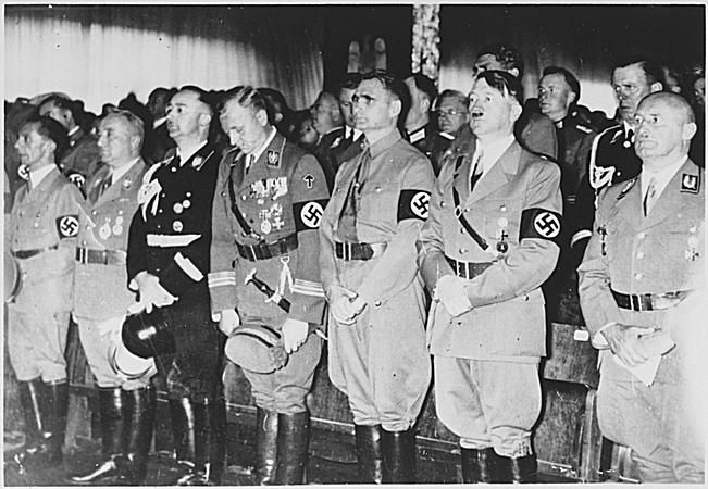 Hitler and other top Nazi officials attend the opening ceremonies of the 1938 Party congress.