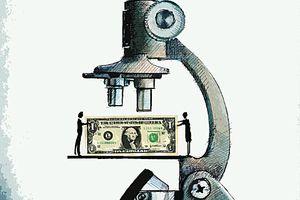 Dollar bill under microscope