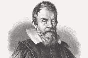 An engraving of Galileo Galilei