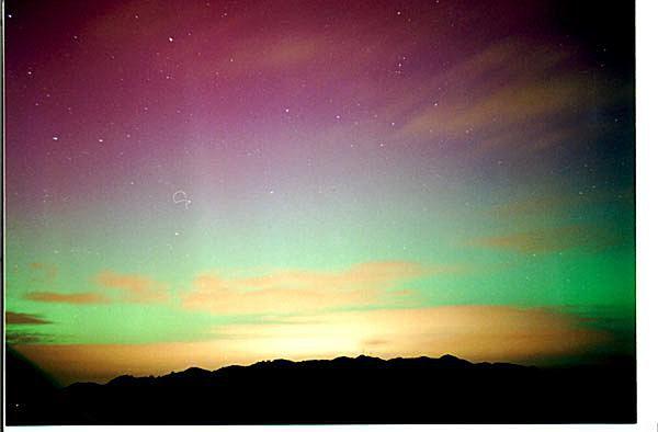 Aurora Australis over Wellington, New Zealand approximately 3am on 24 November 2001.