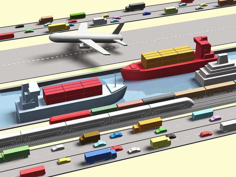 Computer generated image of various modes of transport