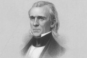 Engraved portrait of James K Polk