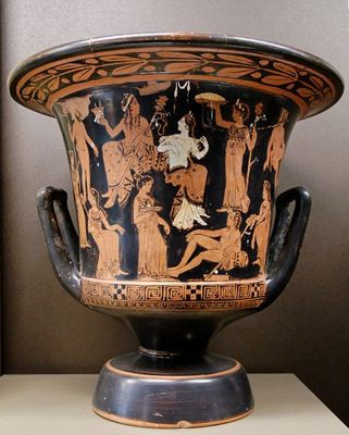 Dionysos, Ariadne, satyrs and maenads. Side A of an Attic red-figure calyx-krater, c. 400-375 B.C.