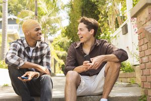 Two Young Men Talking