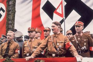 German Dictator, Adolf Hitler addressing a rally in Germany