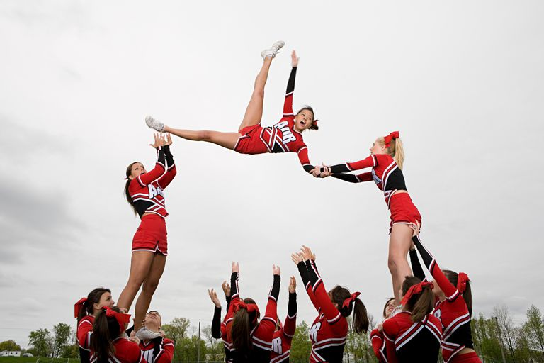 Cheerleaders performing routine