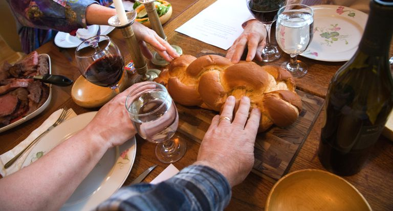 Challah on the table during Shabbat