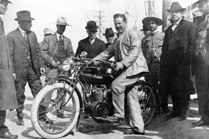 Pancho Villa with a motorcycle