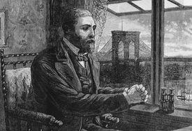 Illustration of Washington Roebling with Brooklyn Bridge in distance