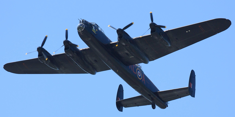 Restored Avro Lancaster plane in flight