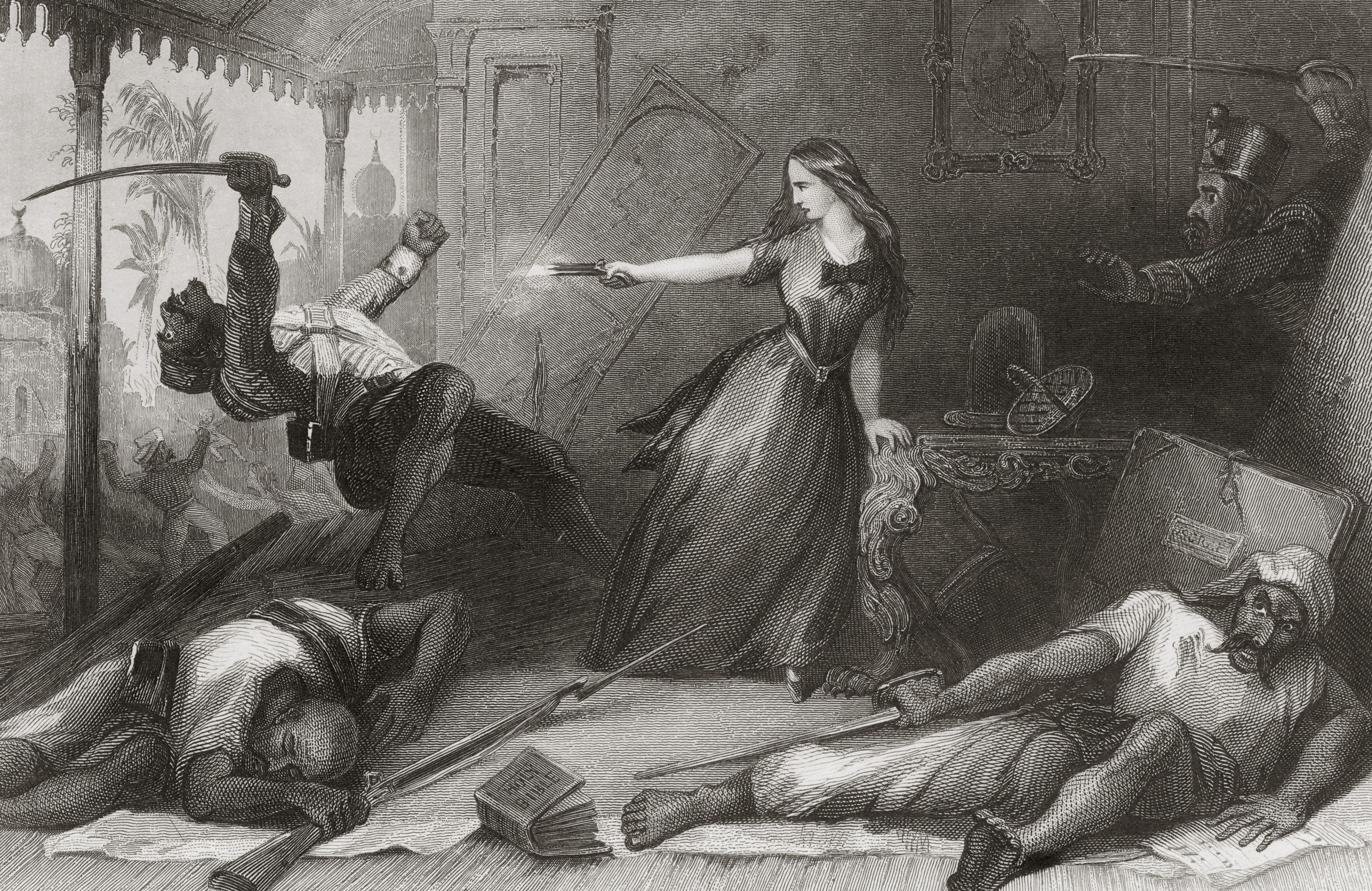English woman defending herself during the sepoy mutiny.