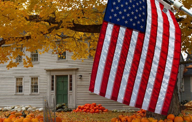 American flag outside Farmhouse