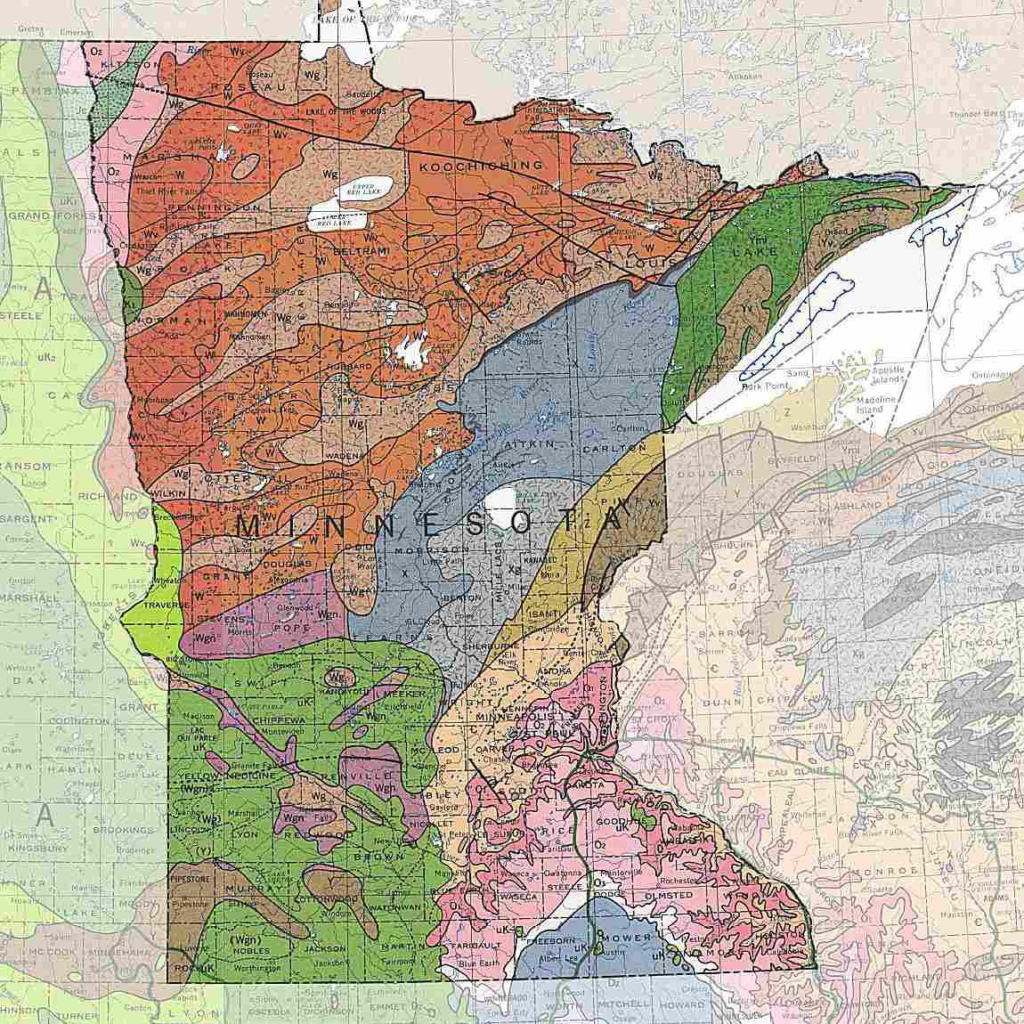 A Map of Minnesota's geology and rocks