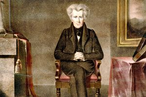 President Andrew Jackson seated with his legs crossed