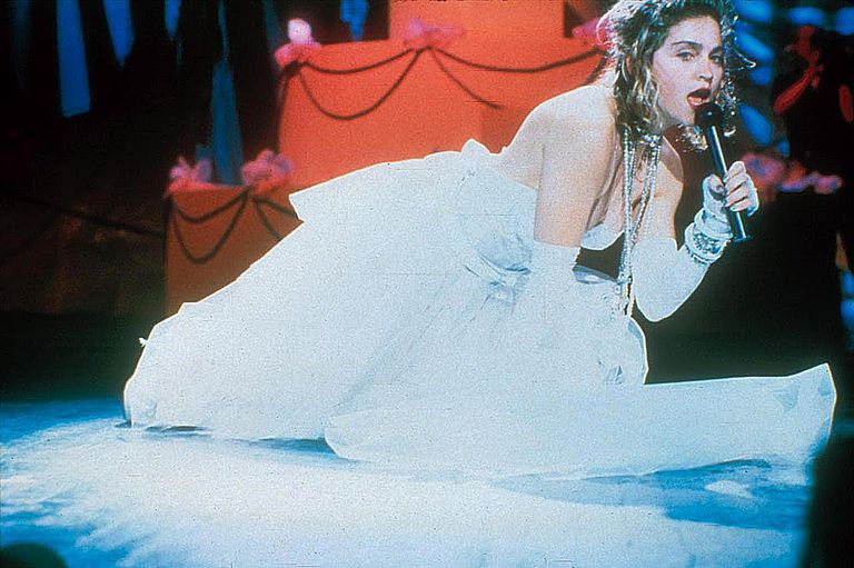Madonna performing on the 1984 MTV Video Music Awards at Radio City Music Hall in New York City, September 14, 1984.