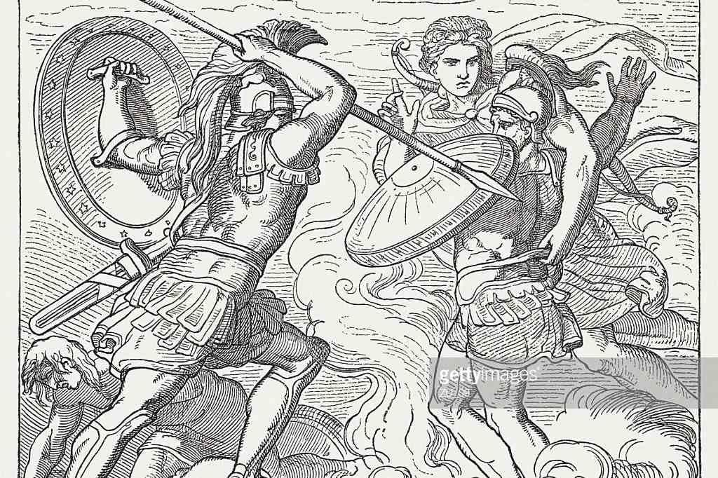 Apollon rettet Hector vor Achilles 'wütenden Angriffen
