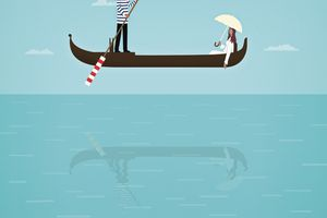 an illustration of a boat floating above water
