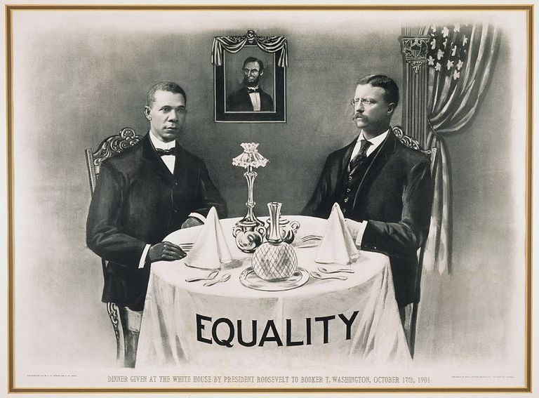 Booker T. Washington Dines With President Roosevelt