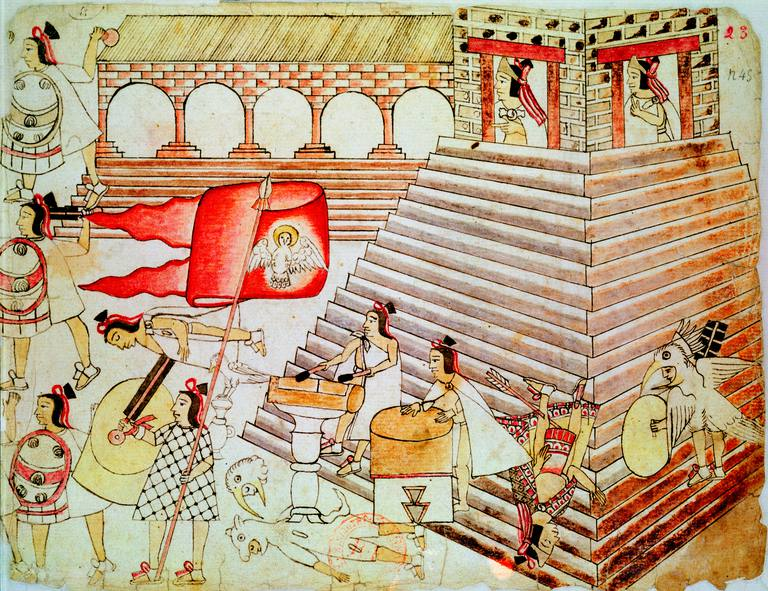 Aztec warriors defending the temple of Tenochtitlan against conquistadors, 1519-1521. Codex Borbonicus, Biblioteque Nationale, Paris