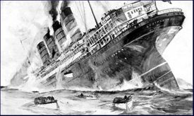 Illustration of the sinking of the Lusitania in 1915.