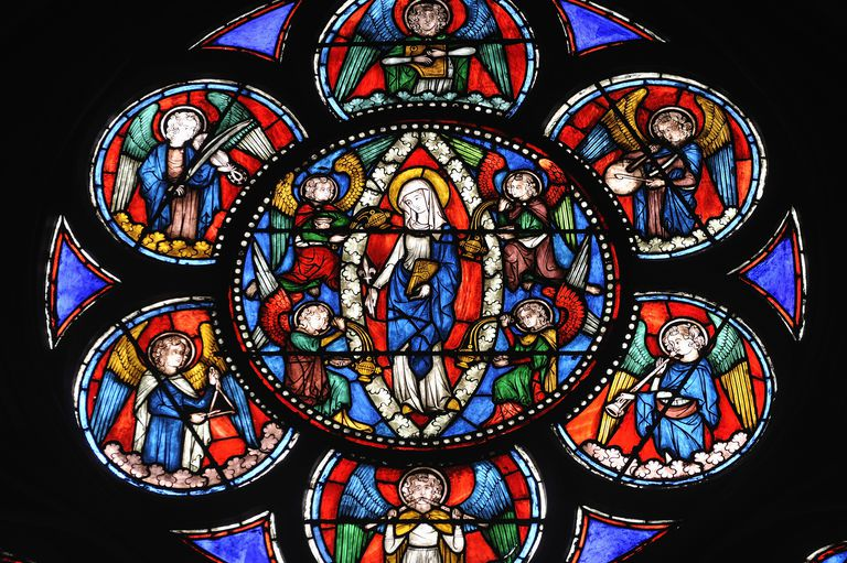 Stained Glass Panel Characteristic Of Gothic Storytelling Notre Dame Cathedral Paris France