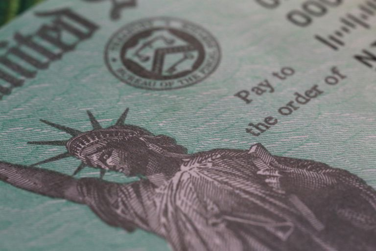 closeup of Statue of Liberty on tax return check