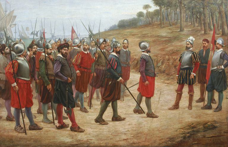 Francisco Pizarro and soldiers