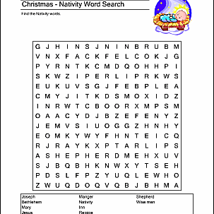 Christmas Nativity Wordsearch