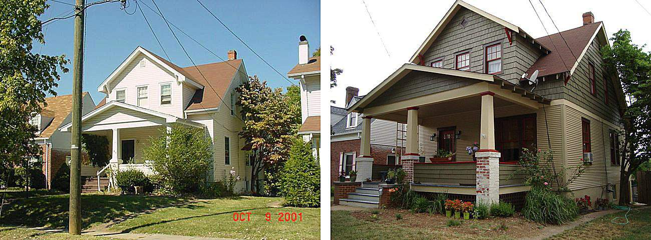 Virginia Bungalow Before and After Painting