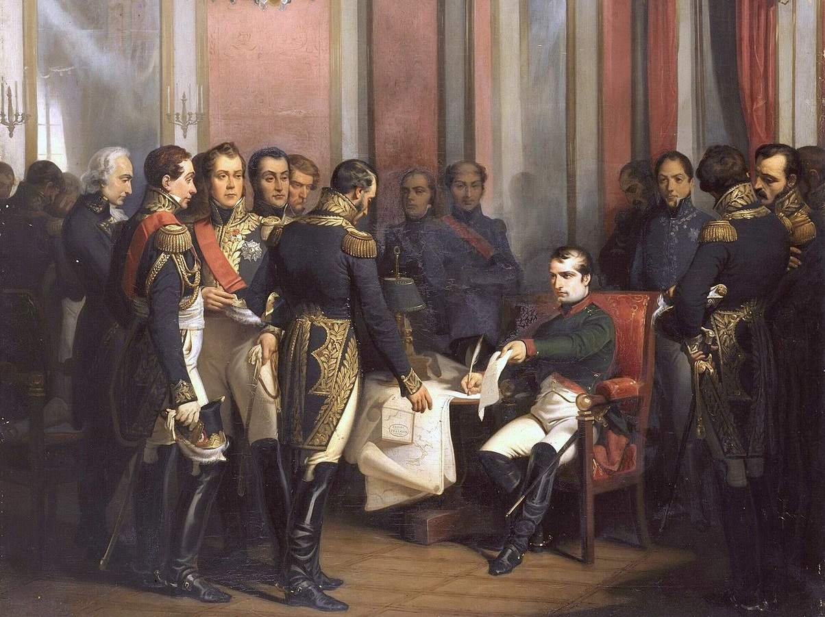 Napoleon seated and signing treaty