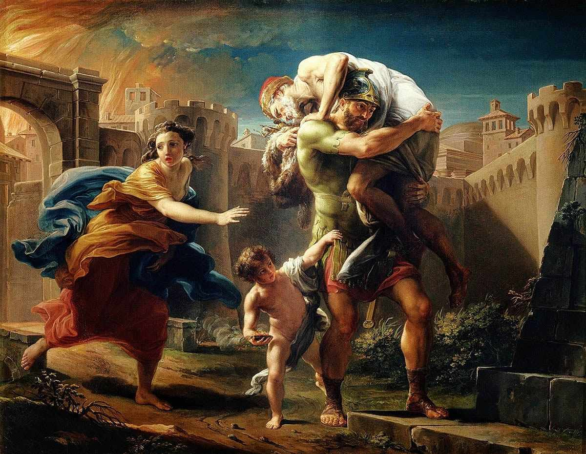 Oil painting of Aeneas fleeing Troy.