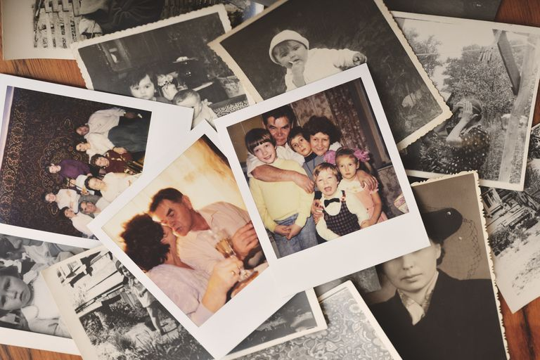 A pile of family photographs