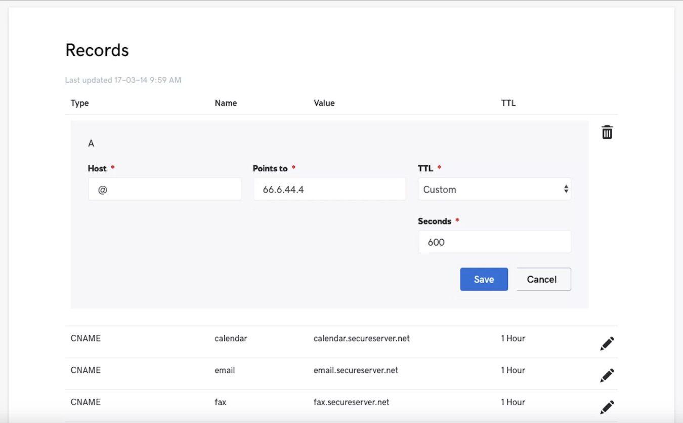 A screenshot of GoDaddy.com.