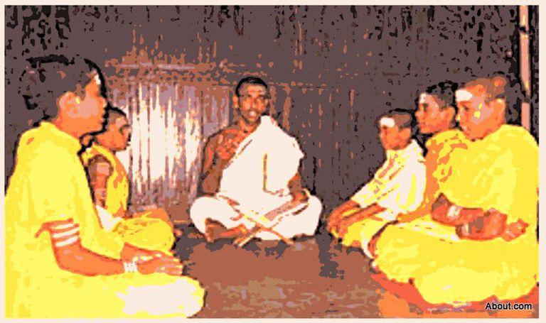 Guru & Students at the Vedic School, Trivandrum