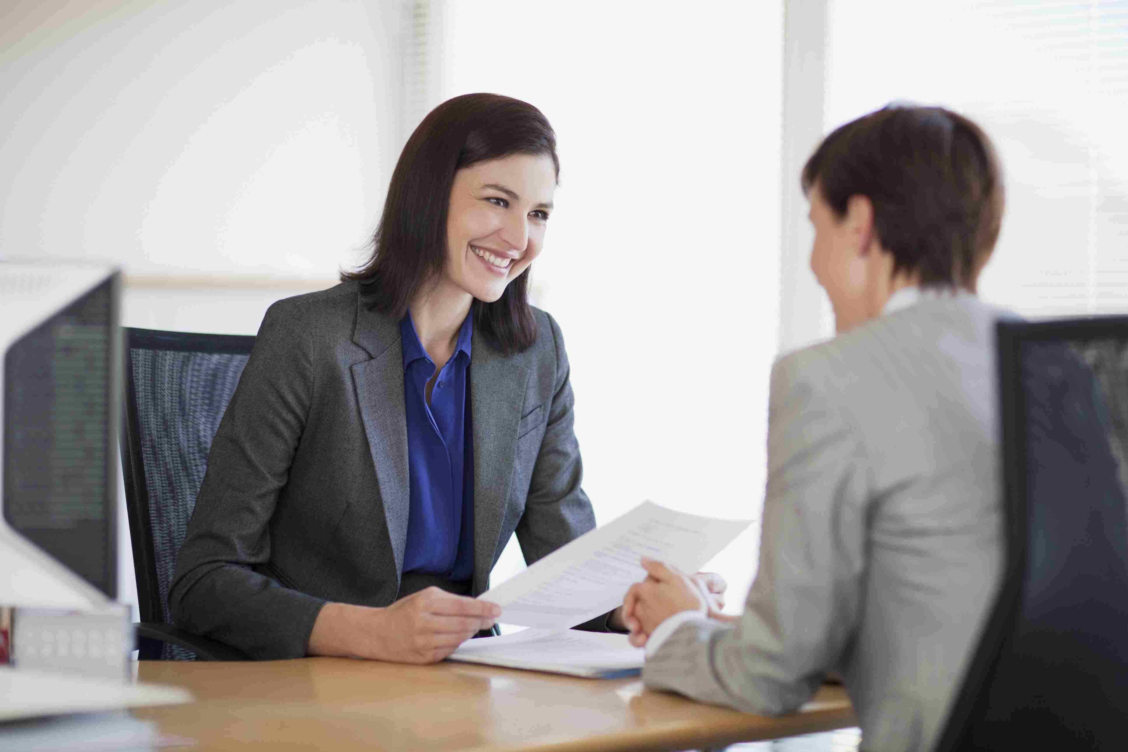 A women conducts a job interview