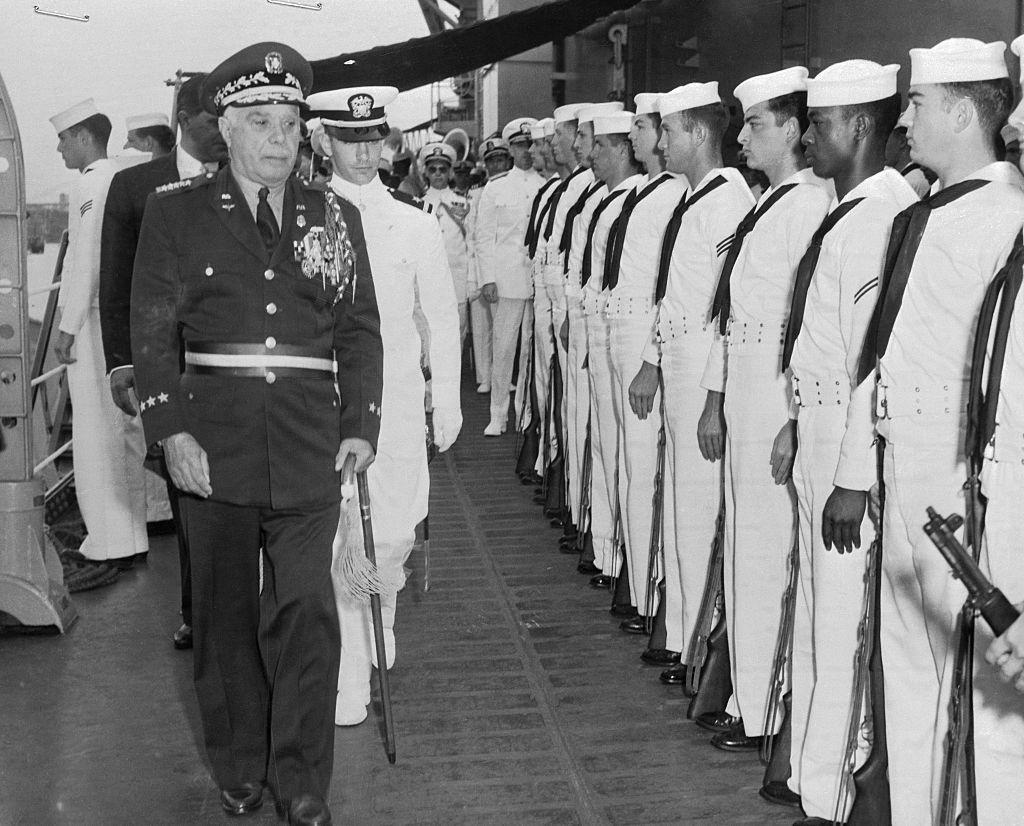 General Rafael Trujillo Reviewing Visiting American Sailors
