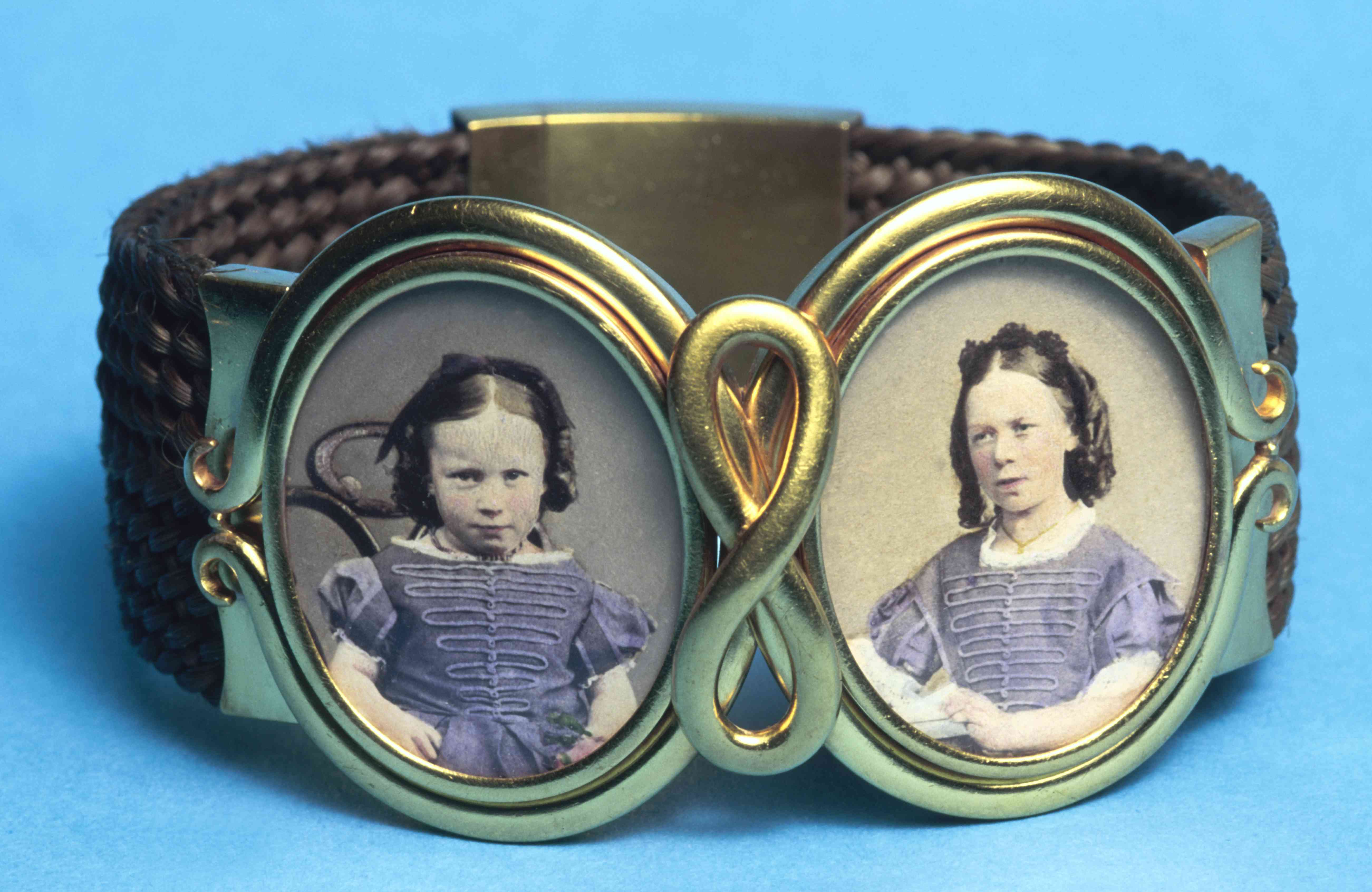 A Victorian bracelet with a band of woven hair, c1865.
