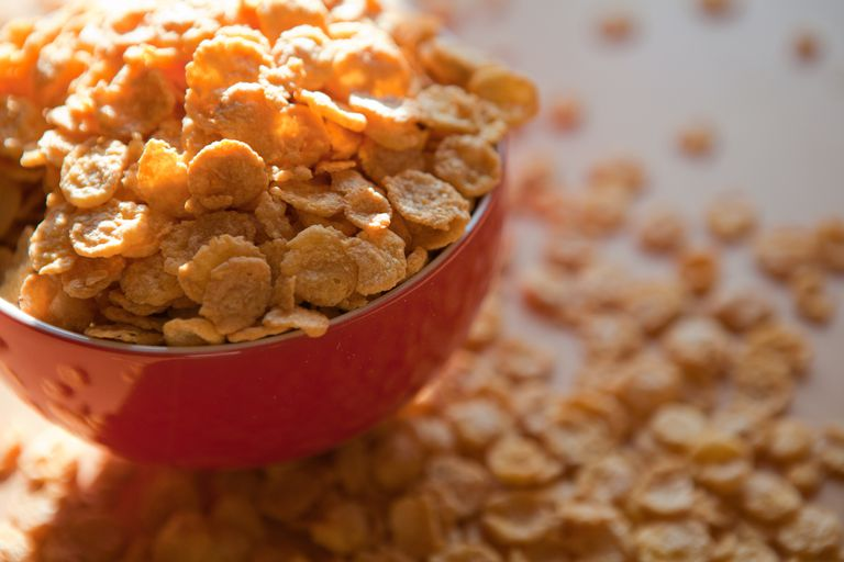 cereal flakes in a bowl up close