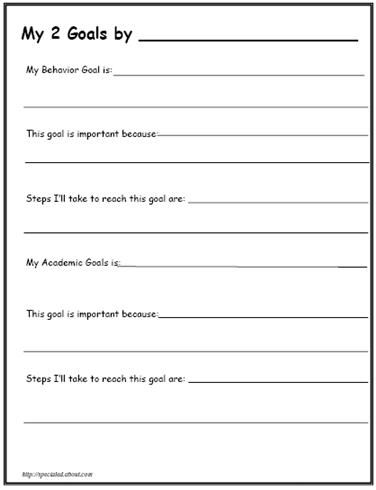 Printable Worksheets For Back To School Goal Setting