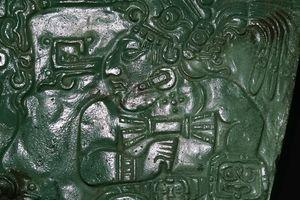 Jade Maya Carving of a Seated Dignitary from Las Cuevas
