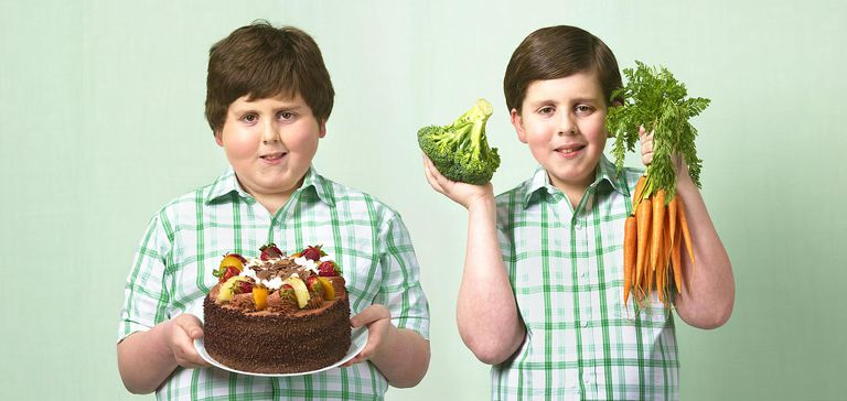 kids with food, healthy and not