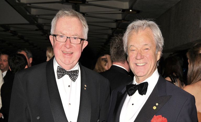 Joe Clark (L) with Actor Gordon Pinsent in 2012