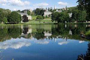View of Colgate University campus across Taylor Lake