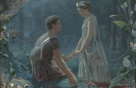 Lysander an Hermia in the forest.
