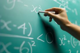 Math equations on the chalk board